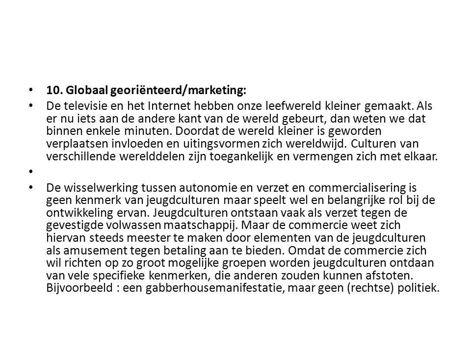 10. Globaal georiënteerd/marketing: