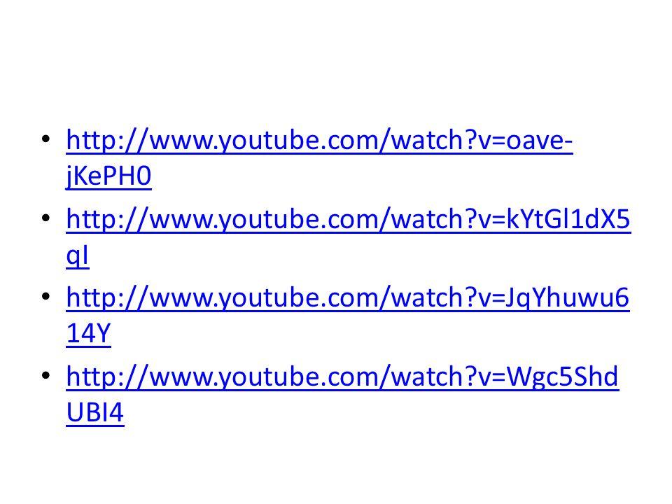 http://www.youtube.com/watch v=oave-jKePH0 http://www.youtube.com/watch v=kYtGl1dX5qI. http://www.youtube.com/watch v=JqYhuwu614Y.