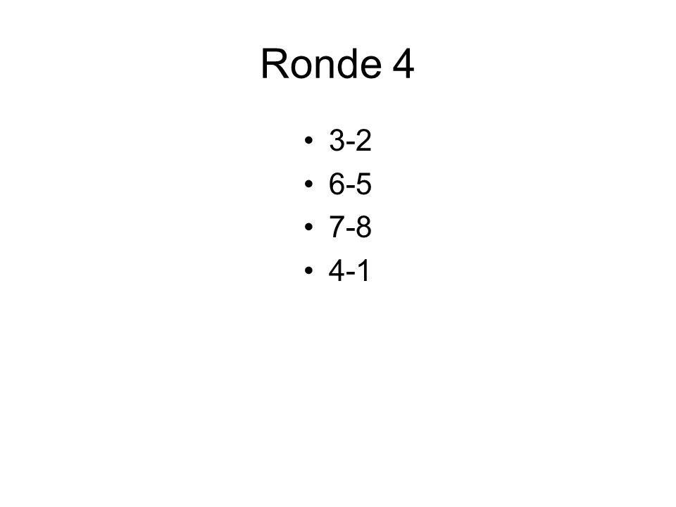 Ronde 4 3-2 6-5 7-8 4-1