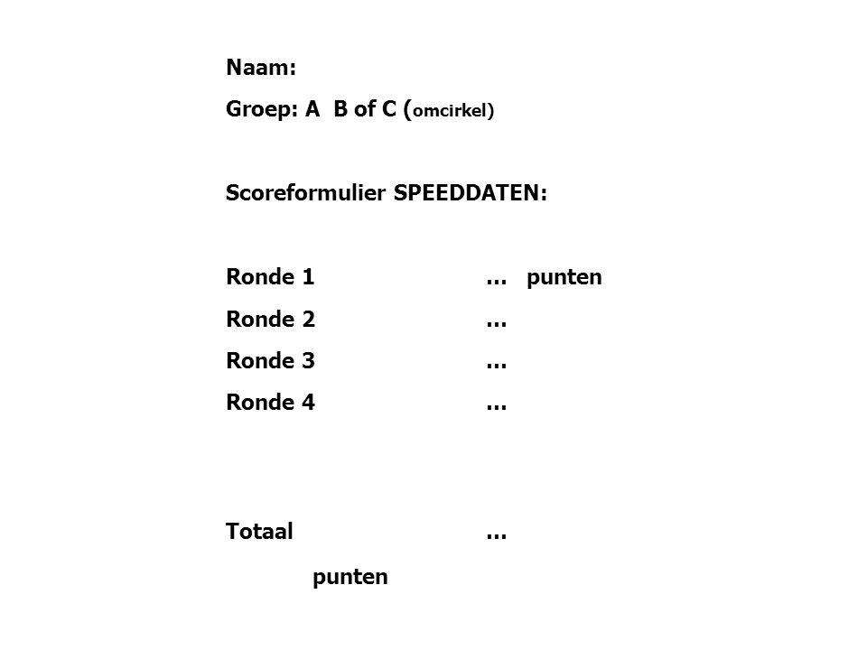 Naam: Groep: A B of C (omcirkel) Scoreformulier SPEEDDATEN: Ronde 1 … punten. Ronde 2 … Ronde 3 …