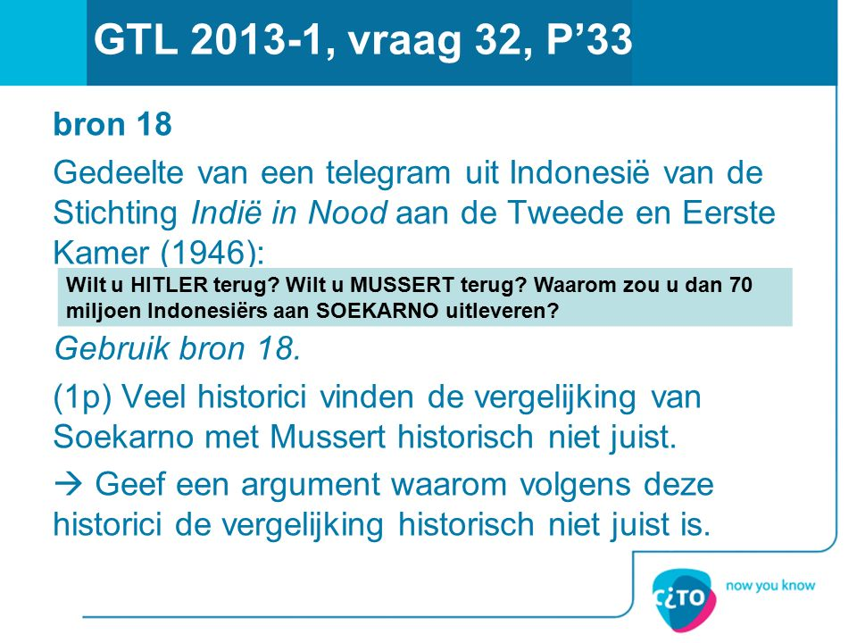 GTL 2013-1, vraag 32, P'33 bron 18. Gedeelte van een telegram uit Indonesië van de Stichting Indië in Nood aan de Tweede en Eerste Kamer (1946):