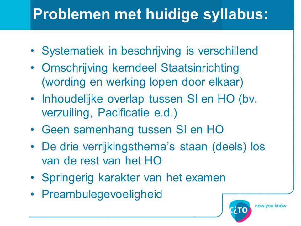 Problemen met huidige syllabus: