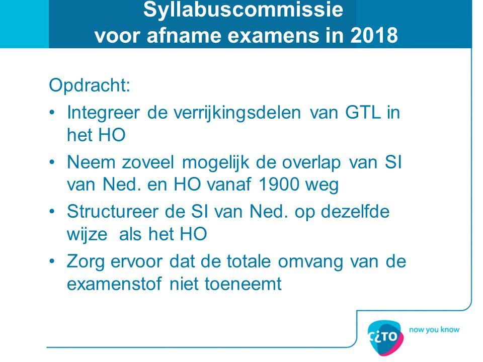 Syllabuscommissie voor afname examens in 2018