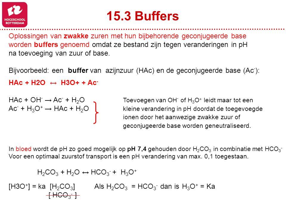 15.3 Buffers Oplossingen van zwakke zuren met hun bijbehorende geconjugeerde base.