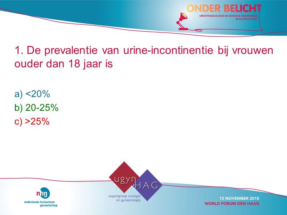 1. De prevalentie van urine-incontinentie bij vrouwen ouder dan 18 jaar is
