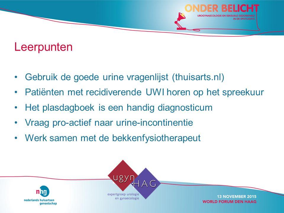 Leerpunten Gebruik de goede urine vragenlijst (thuisarts.nl)