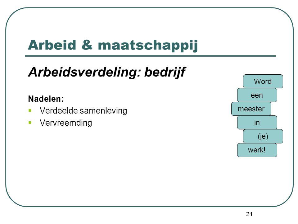 Arbeid & maatschappij Arbeidsverdeling: bedrijf Nadelen: