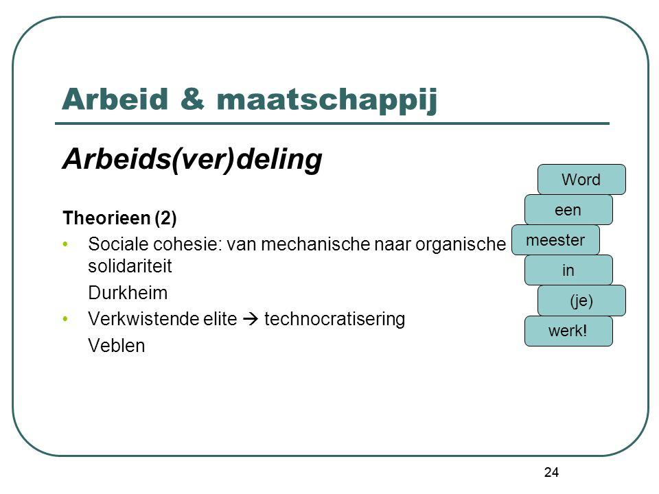 Arbeid & maatschappij Arbeids(ver)deling Theorieen (2)
