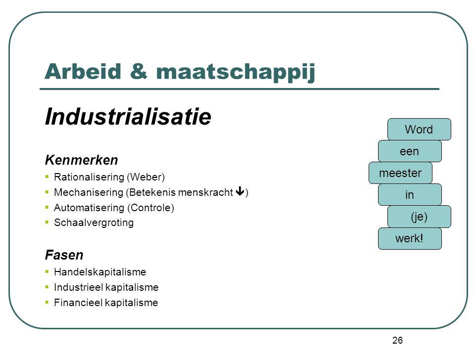 Industrialisatie Arbeid & maatschappij Kenmerken Fasen Word een