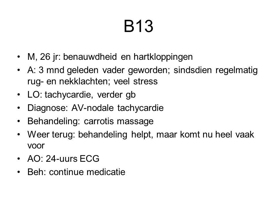 B13 M, 26 jr: benauwdheid en hartkloppingen