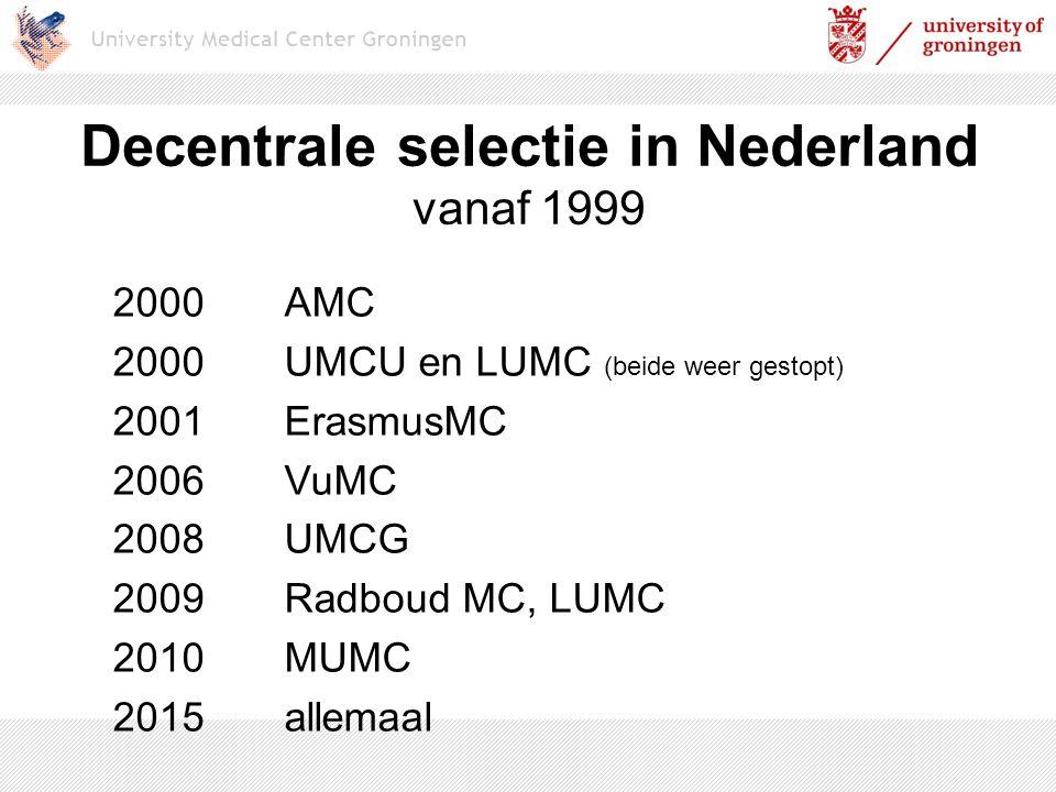 Decentrale selectie in Nederland vanaf 1999