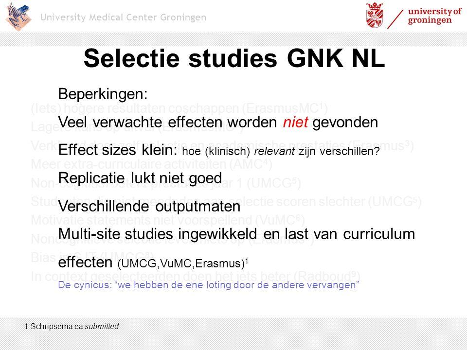 Selectie studies GNK NL