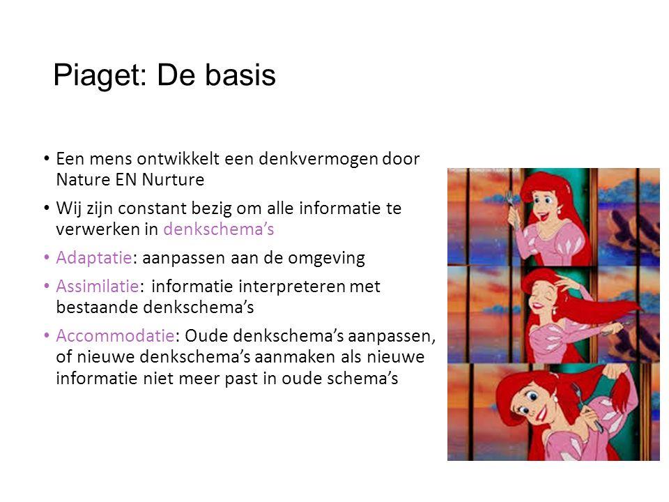 Piaget: De basis Een mens ontwikkelt een denkvermogen door Nature EN Nurture.