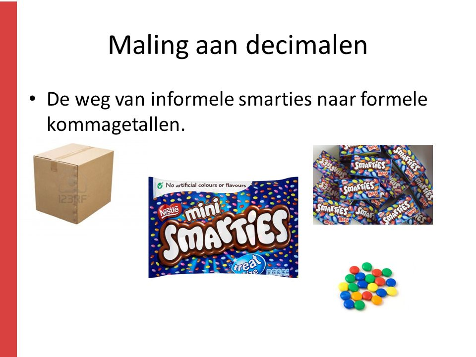Maling aan decimalen De weg van informele smarties naar formele kommagetallen.
