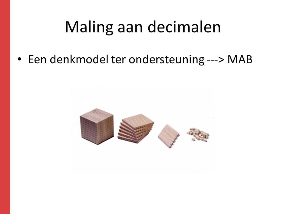 Maling aan decimalen Een denkmodel ter ondersteuning ---> MAB