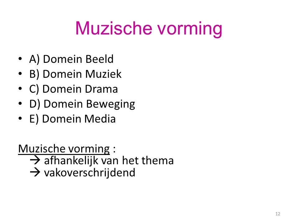 Muzische vorming A) Domein Beeld B) Domein Muziek C) Domein Drama