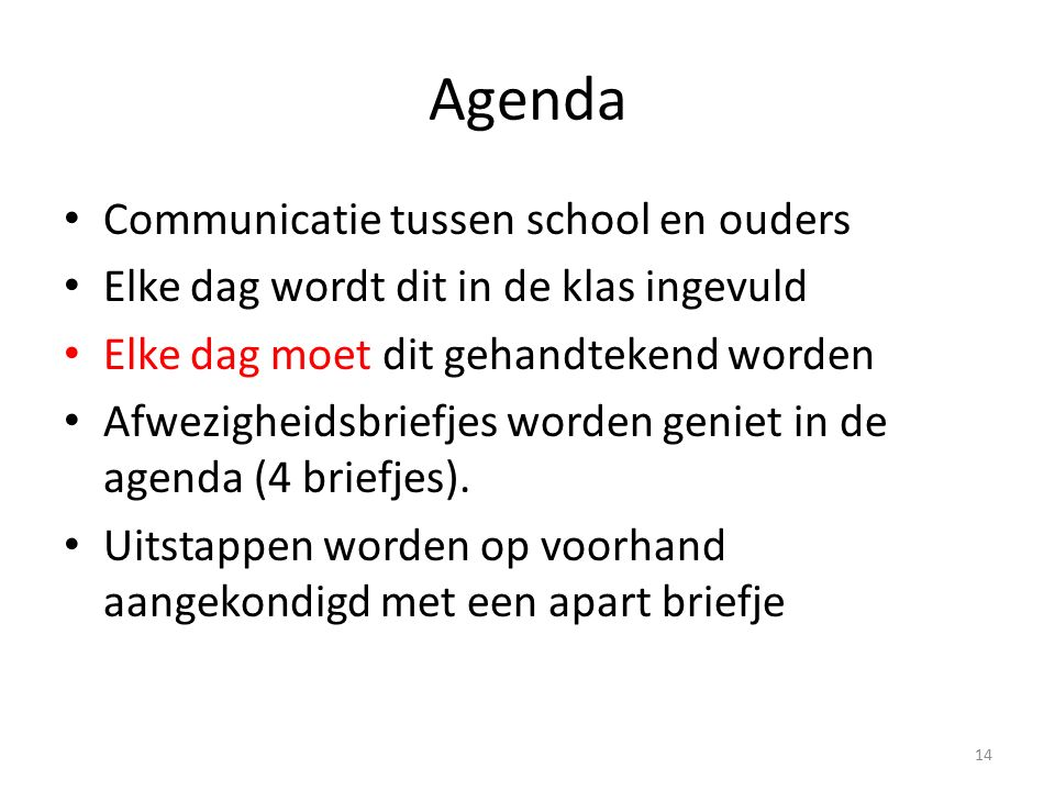 Agenda Communicatie tussen school en ouders