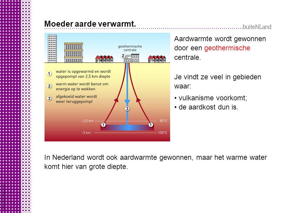 Moeder aarde verwarmt. Aardwarmte wordt gewonnen door een centrale.