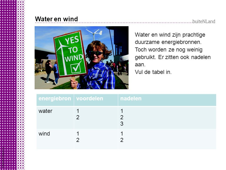 Water en wind Water en wind zijn prachtige duurzame energiebronnen. Toch worden ze nog weinig gebruikt. Er zitten ook nadelen aan.