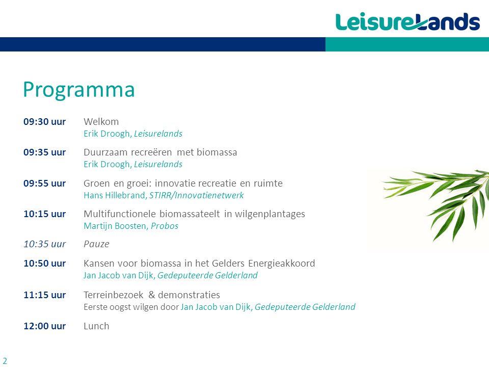 Programma 09:30 uur Welkom Erik Droogh, Leisurelands 09:35 uur