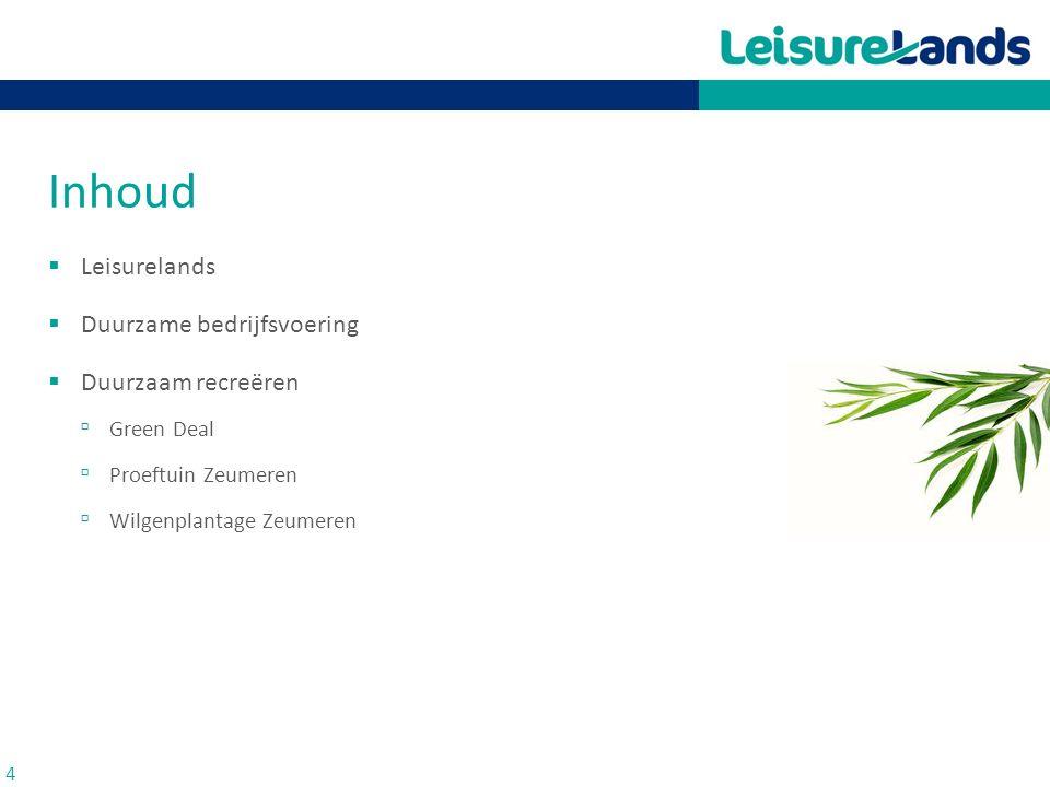 Inhoud Leisurelands Duurzame bedrijfsvoering Duurzaam recreëren