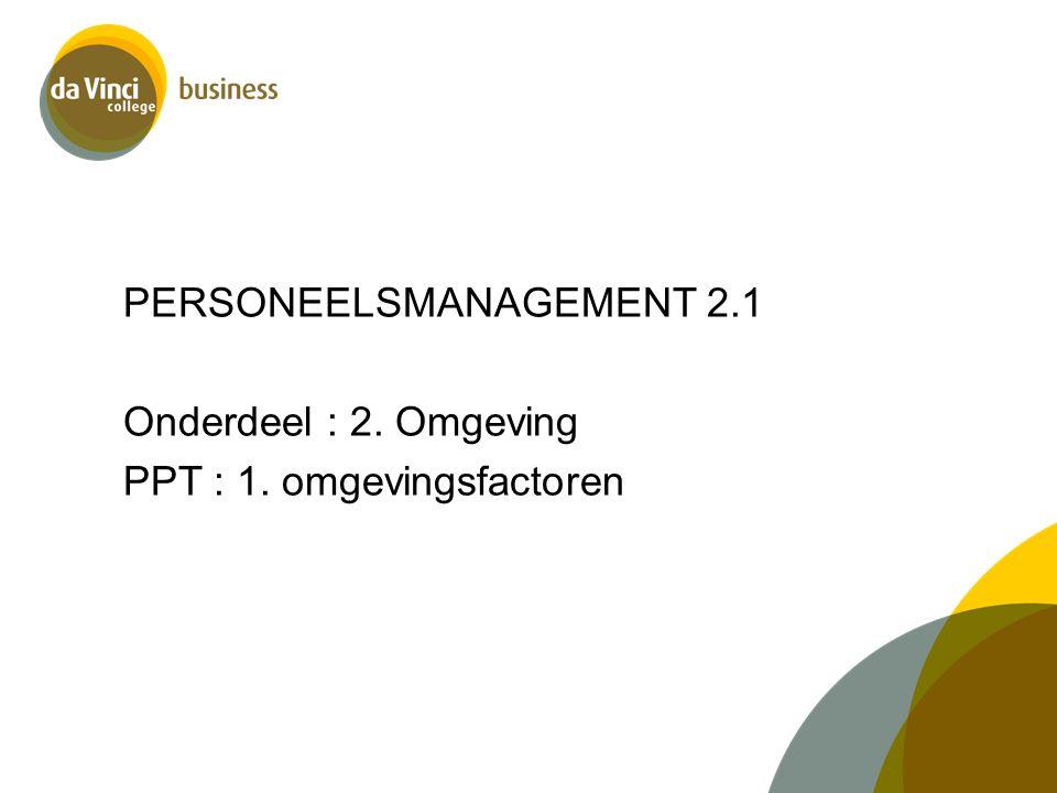 PERSONEELSMANAGEMENT 2. 1 Onderdeel : 2. Omgeving PPT : 1