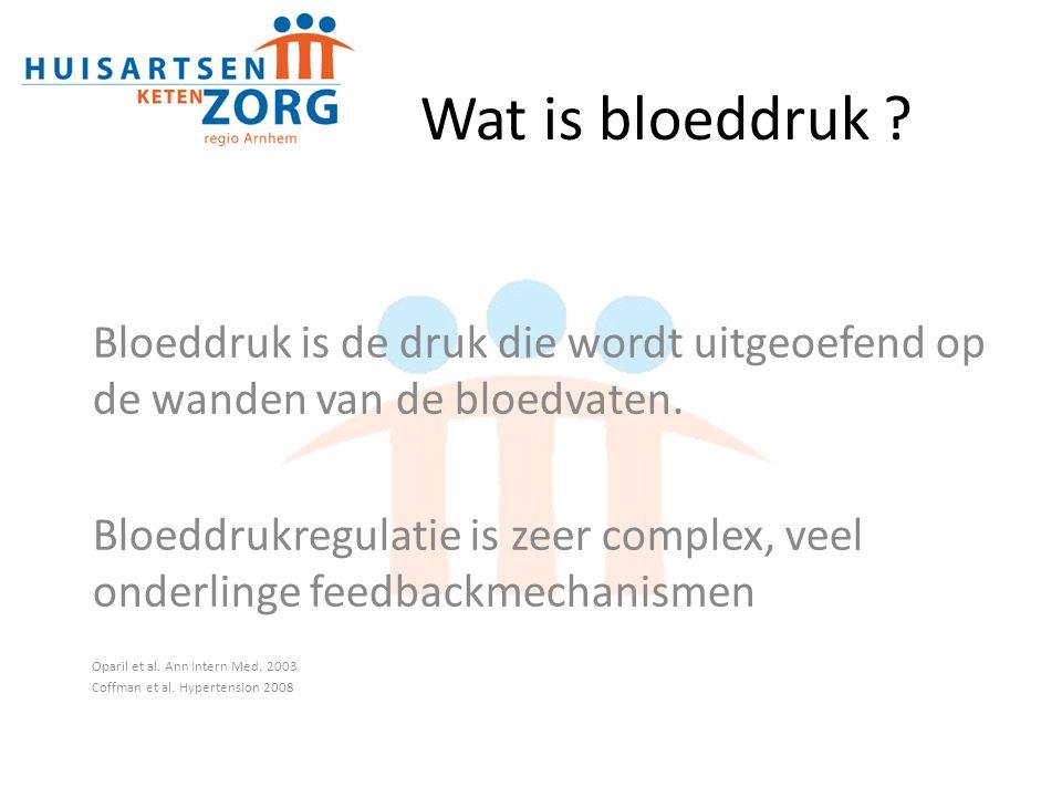 Wat is bloeddruk Bloeddruk is de druk die wordt uitgeoefend op de wanden van de bloedvaten.