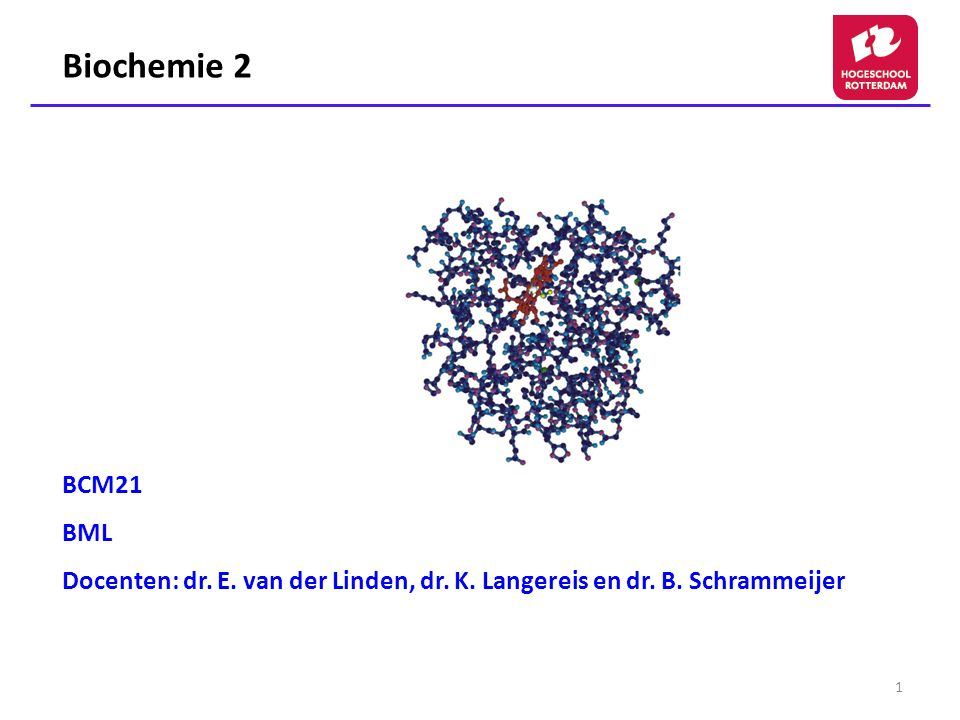 Biochemie 2 BCM21 BML Docenten: dr. E. van der Linden, dr. K. Langereis en dr. B. Schrammeijer