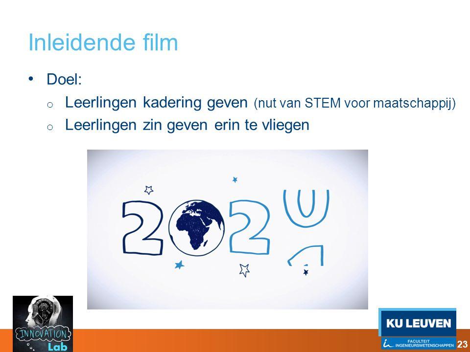 Inleidende film Doel: Leerlingen kadering geven (nut van STEM voor maatschappij) Leerlingen zin geven erin te vliegen.