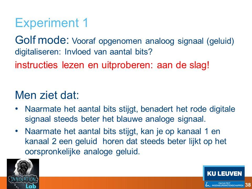 Experiment 1 Golf mode: Vooraf opgenomen analoog signaal (geluid) digitaliseren: Invloed van aantal bits
