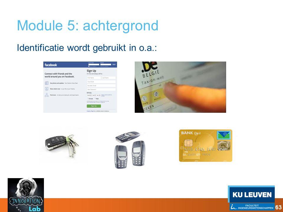 Module 5: achtergrond Identificatie wordt gebruikt in o.a.: