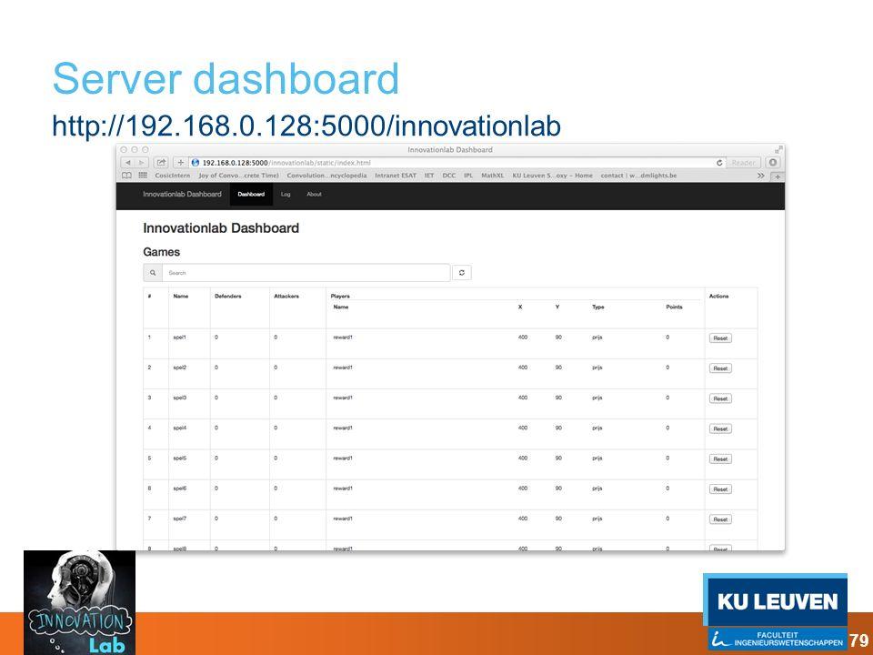 Server dashboard http://192.168.0.128:5000/innovationlab