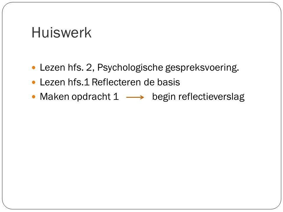 Huiswerk Lezen hfs. 2, Psychologische gespreksvoering.