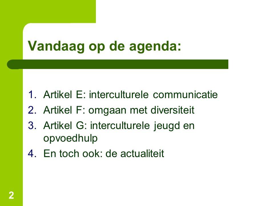 Vandaag op de agenda: Artikel E: interculturele communicatie