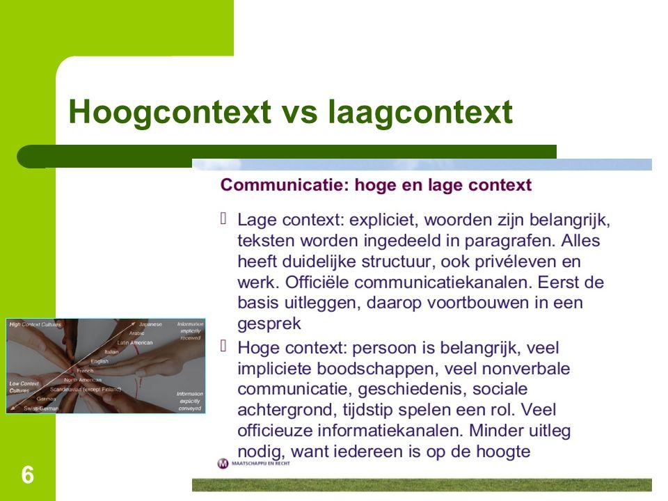 Hoogcontext vs laagcontext
