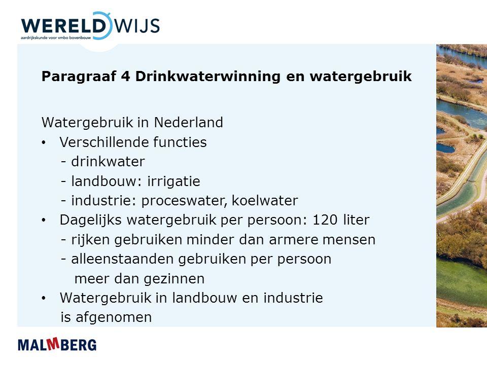 Paragraaf 4 Drinkwaterwinning en watergebruik