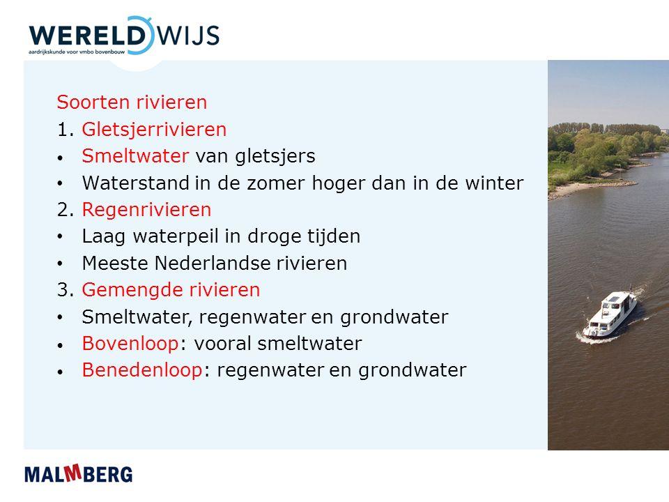 Waterstand in de zomer hoger dan in de winter 2. Regenrivieren