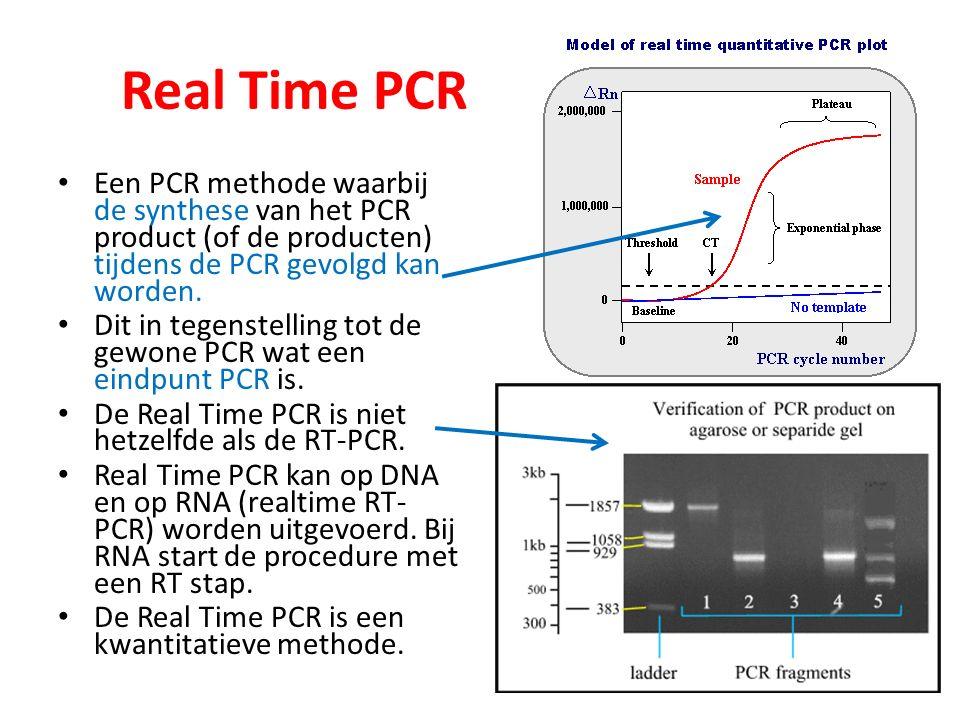 Real Time PCR Een PCR methode waarbij de synthese van het PCR product (of de producten) tijdens de PCR gevolgd kan worden.