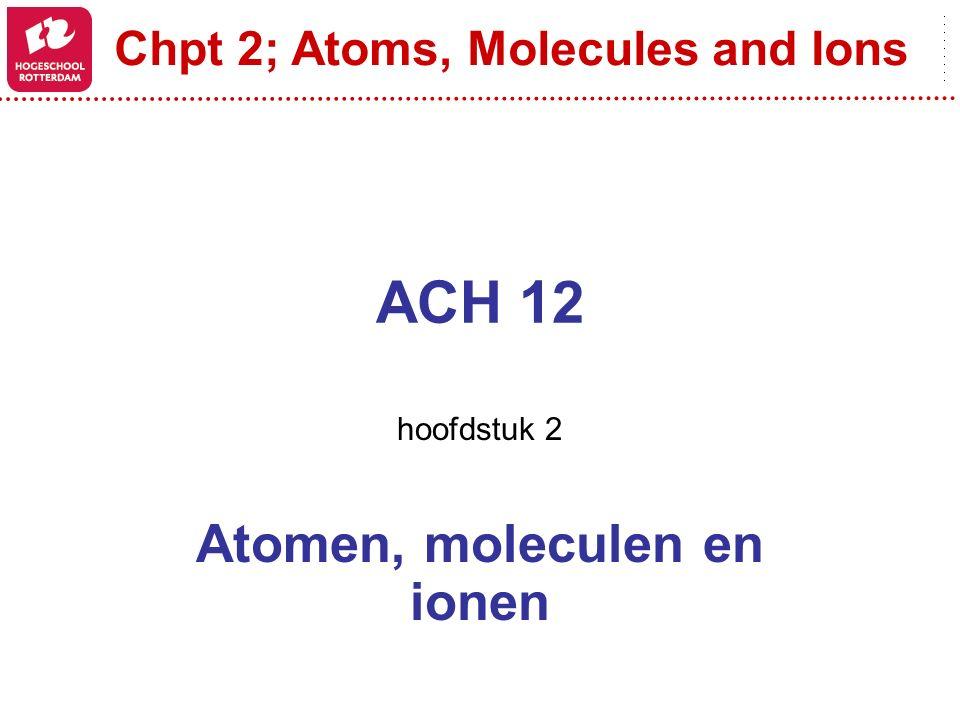 hoofdstuk 2 Atomen, moleculen en ionen