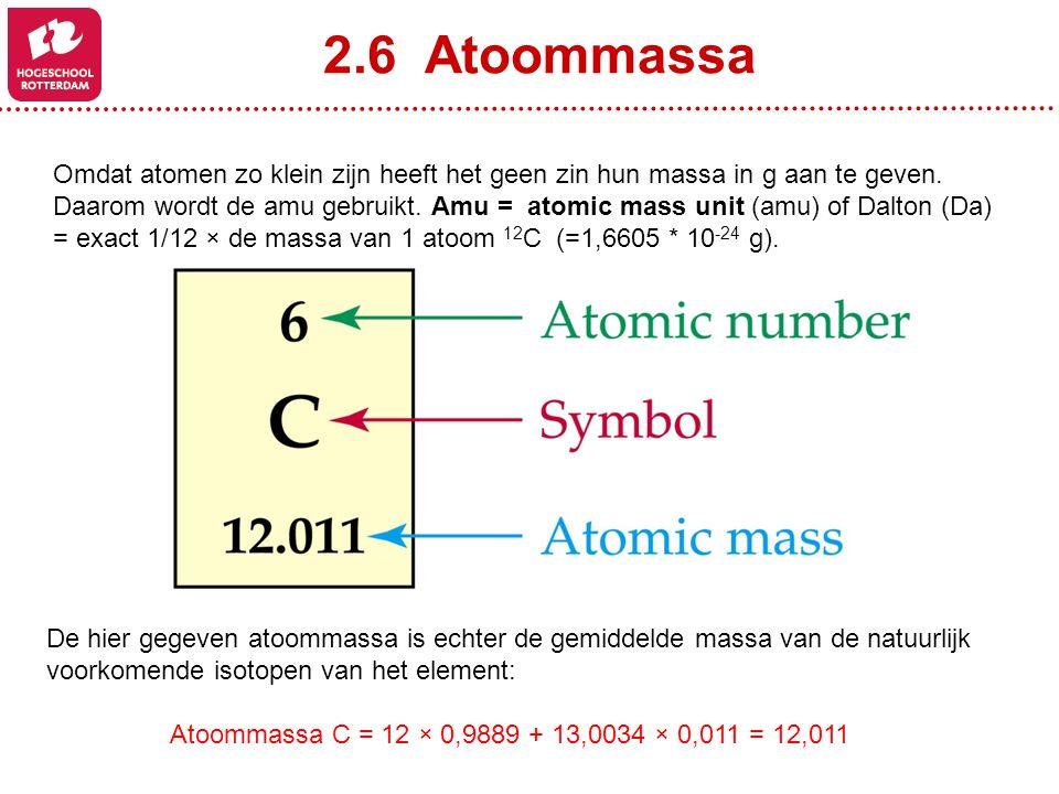 2.6 Atoommassa Omdat atomen zo klein zijn heeft het geen zin hun massa in g aan te geven.
