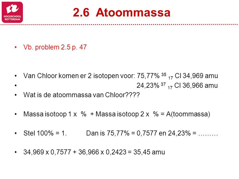 2.6 Atoommassa Vb. problem 2.5 p. 47