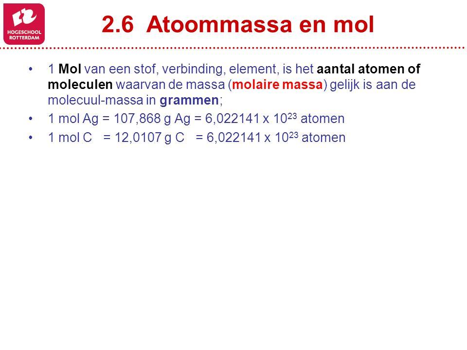 2.6 Atoommassa en mol