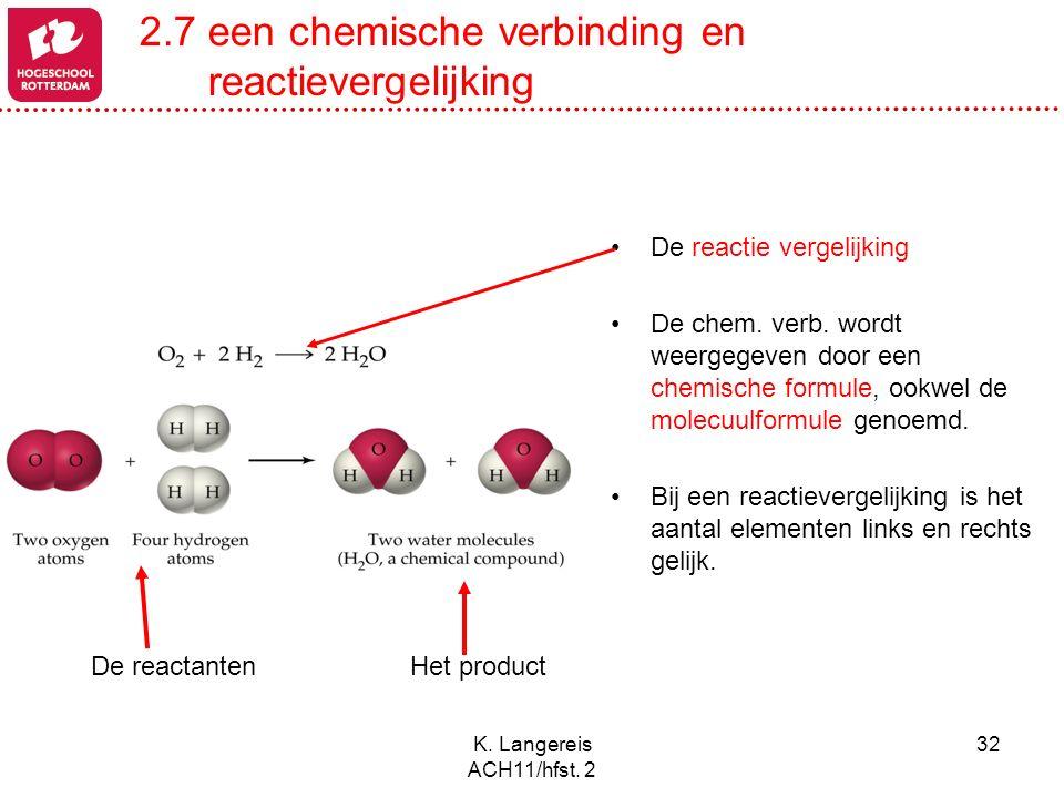 2.7 een chemische verbinding en reactievergelijking