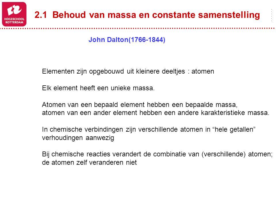 2.1 Behoud van massa en constante samenstelling