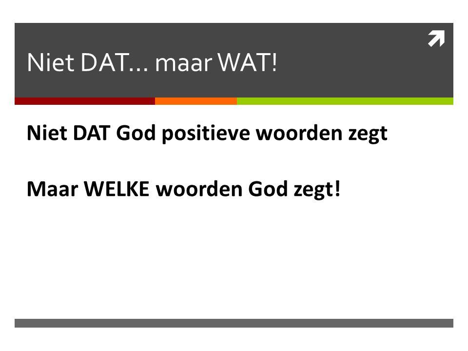 Niet DAT… maar WAT! Niet DAT God positieve woorden zegt