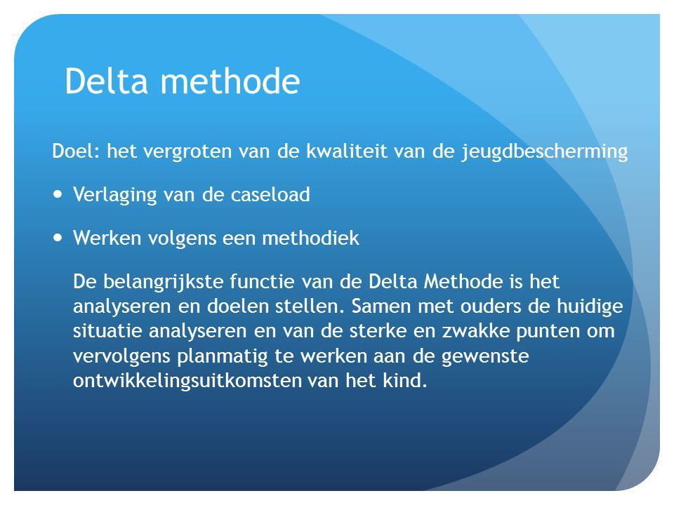 Delta methode Doel: het vergroten van de kwaliteit van de jeugdbescherming. Verlaging van de caseload.