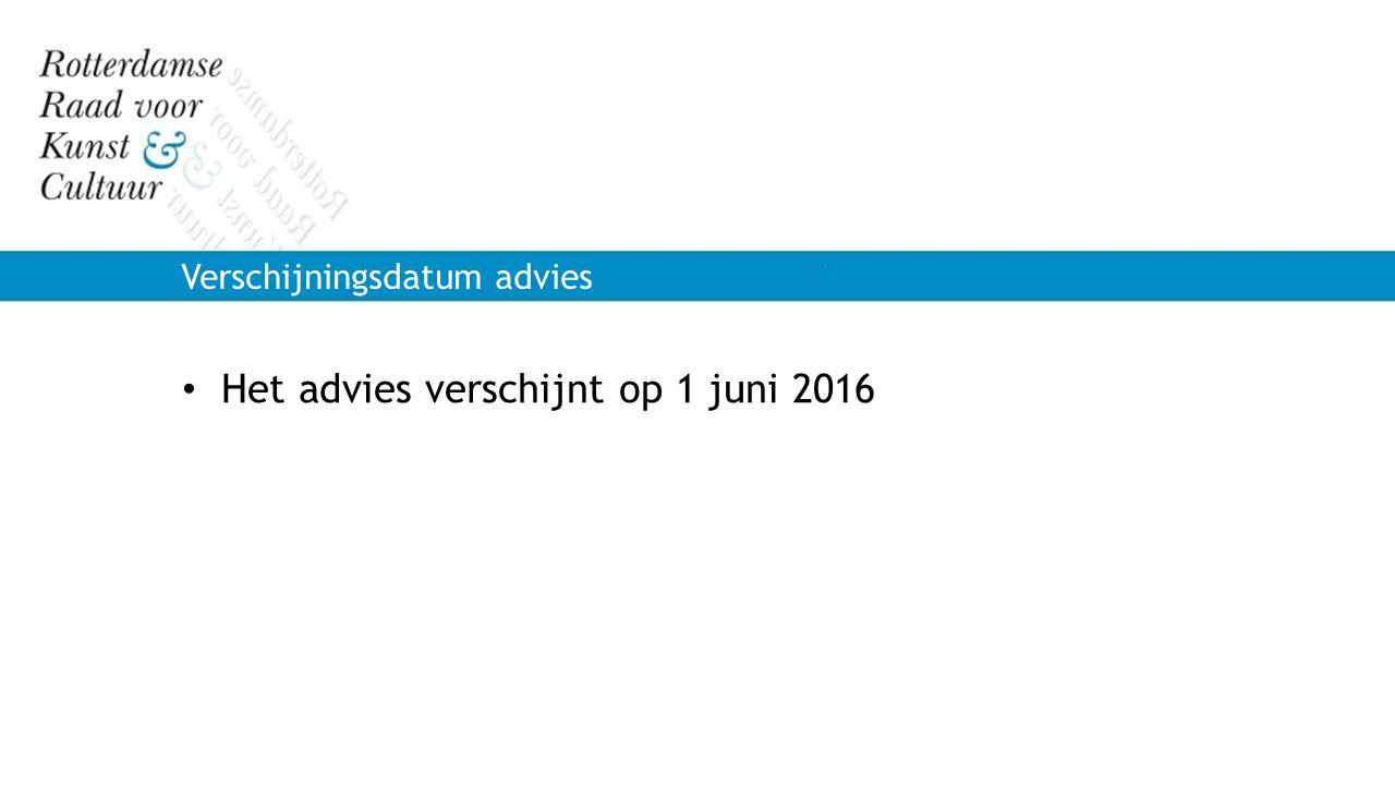 Het advies verschijnt op 1 juni 2016