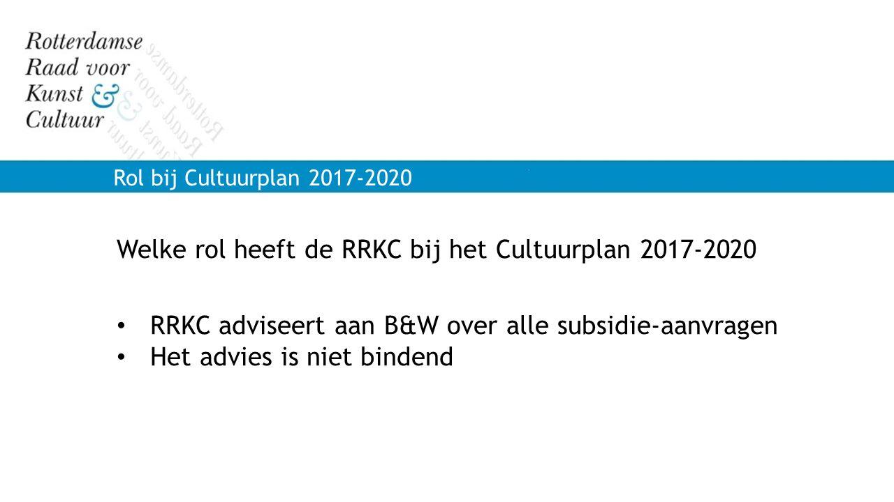 Welke rol heeft de RRKC bij het Cultuurplan 2017-2020