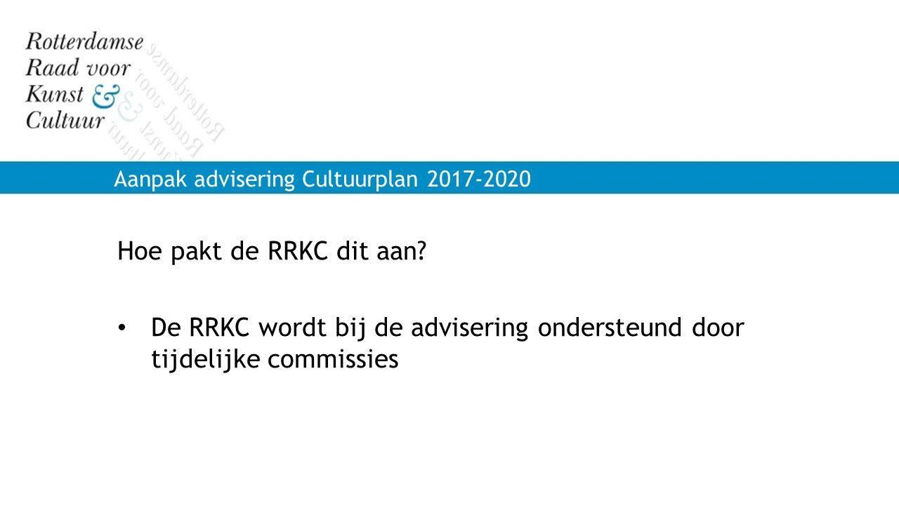 De RRKC wordt bij de advisering ondersteund door tijdelijke commissies