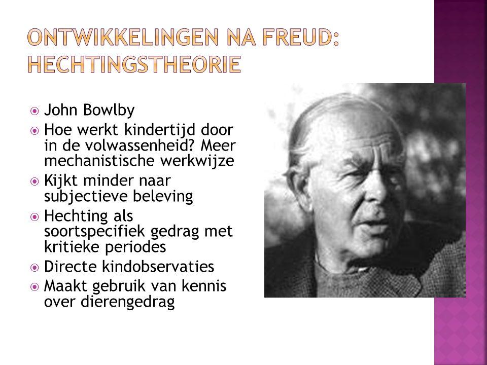 Ontwikkelingen na Freud: hechtingstheorie